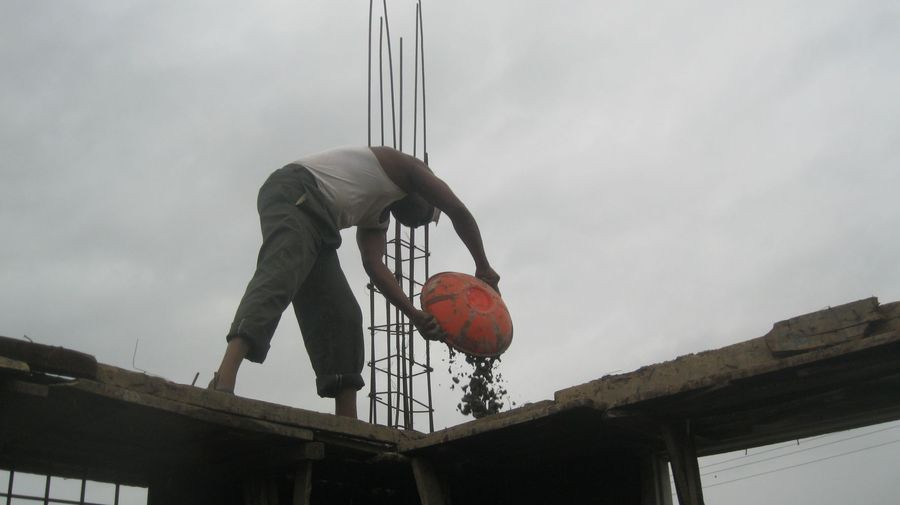 cement carried up by hand  <span></span>