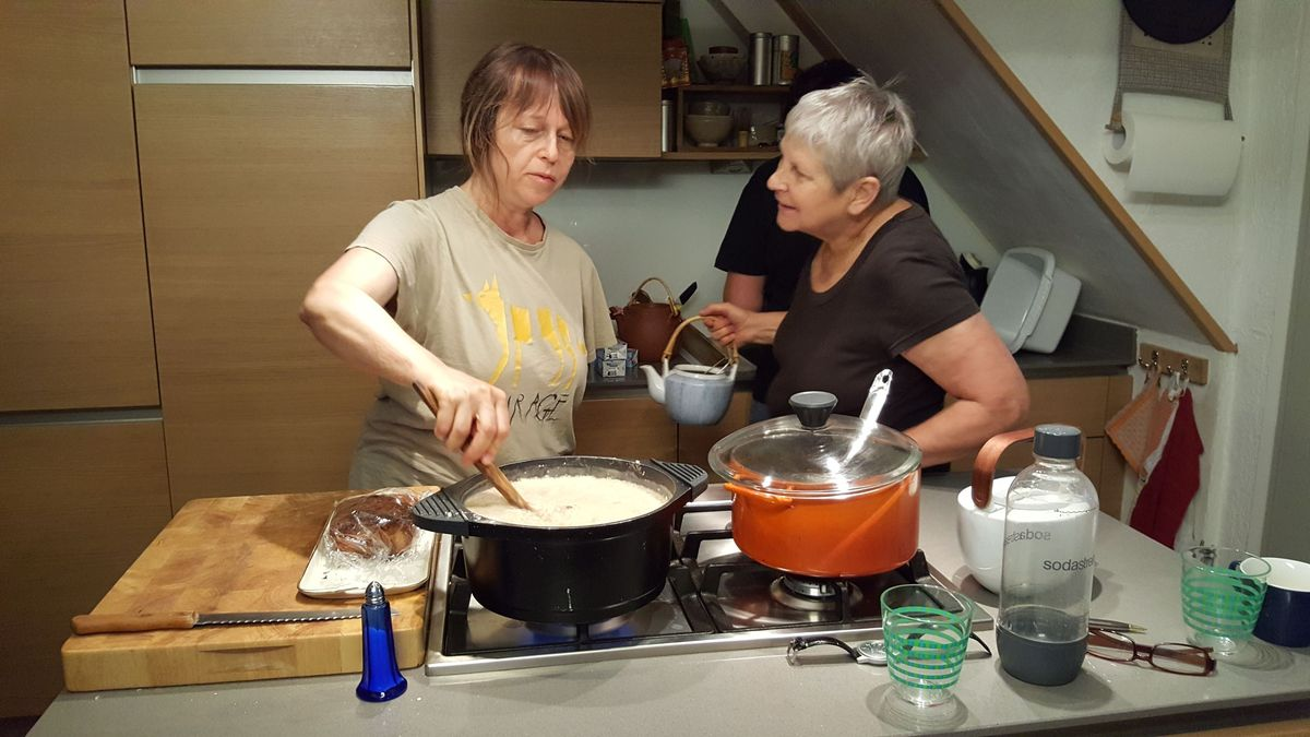 <span></span><div>cooking together</div>