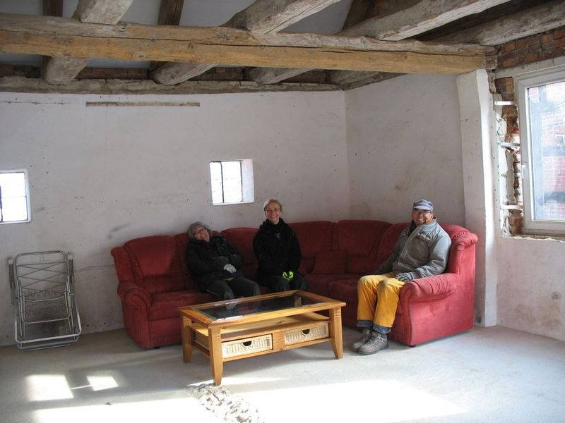 red sofa donated by - <span>Monika and Friedhelm </span>