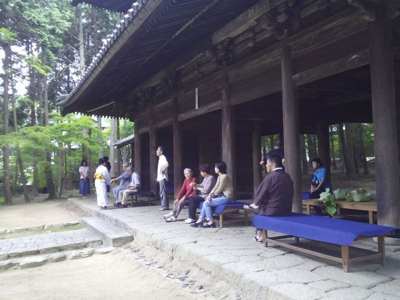 <span></span><div>Tea set up in the sanmon gate</div>