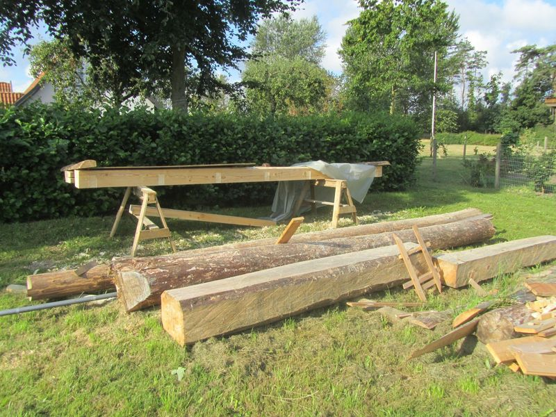 major work - <span>the beams have been chain sawed  by Daiko from fallen trees from the nearby forest</span>