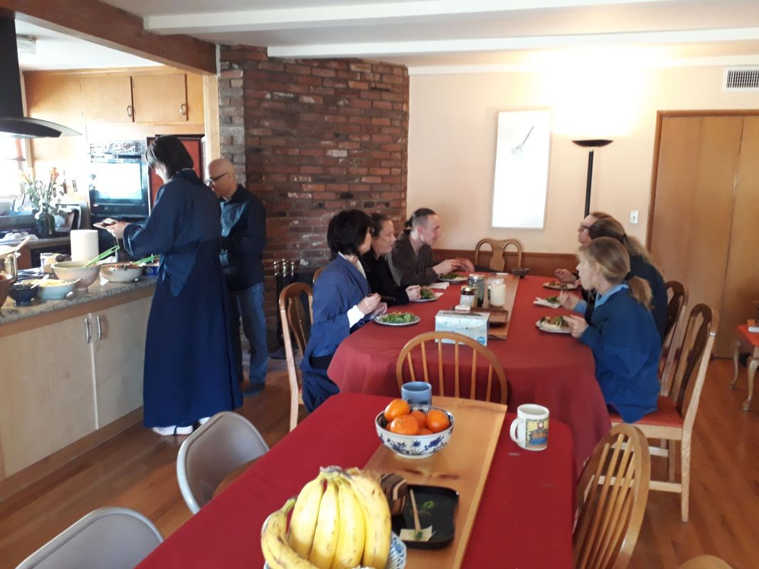 <span></span><div>sharing lunch after Saturday zazen</div>