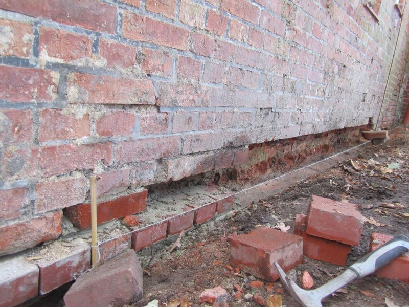 replacing the crumbling bricks  <span></span>